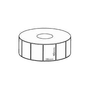 40x28mm Direct Thermal Removable Label, 2000 per roll, 38mm core, Perforated