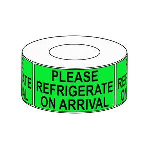 90 x 200mm Please Refrigerate On Arrival Label, 750 per roll, 76mm core